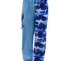 shark towel pants, girl front view, no background