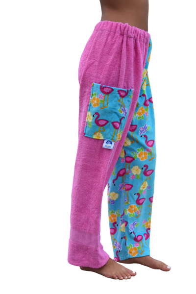 flamingo towel pants, girl, side view