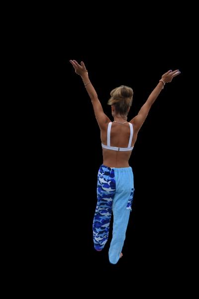 shark towel pants, girl, rear view