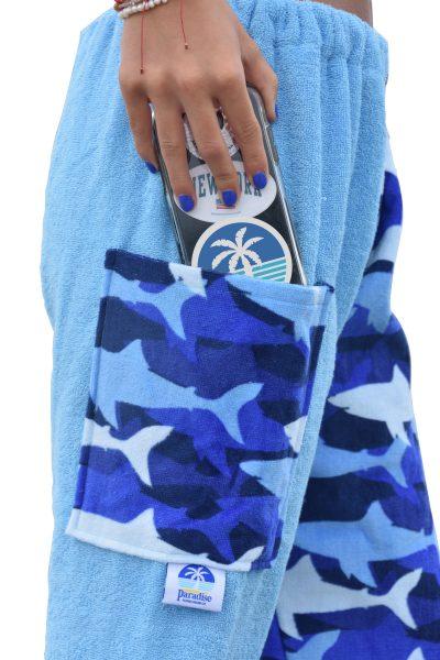 shark towel pants, girl, side view pocket
