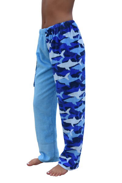 shark towel pants, girl, side view