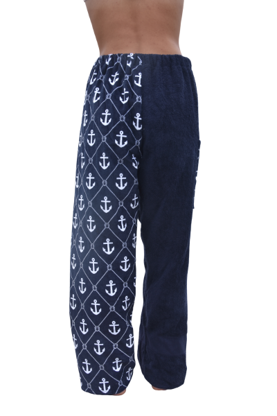 anchor towel pants, girl, rear back view