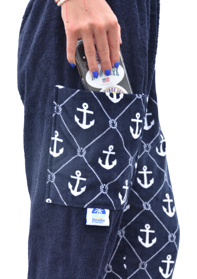 anchor towel pants, girl, side view pocket
