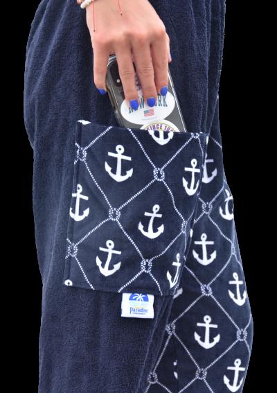 anchor towel pants, girl, side view pocket